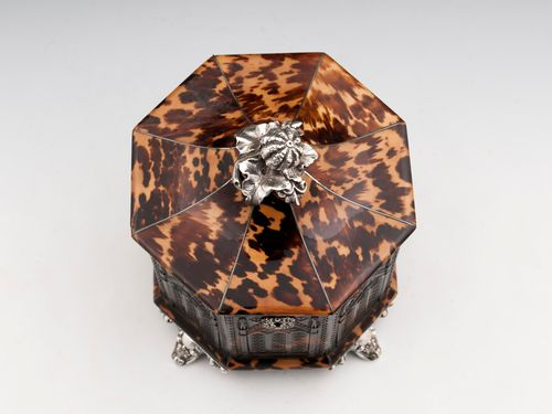 Pressed Tortoiseshell and silver Tea Caddy