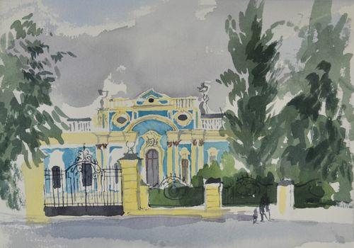Barbara Dorf - Blue Baroque Building - watercolour