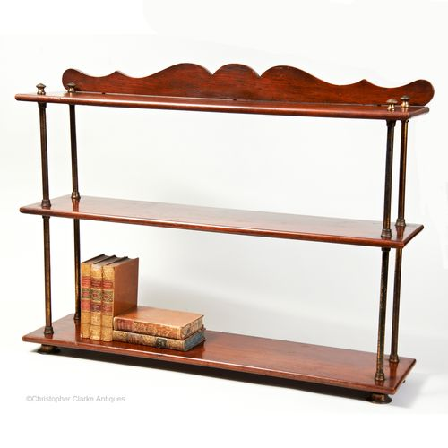 Campaign Shelves Made of Teak & Brass