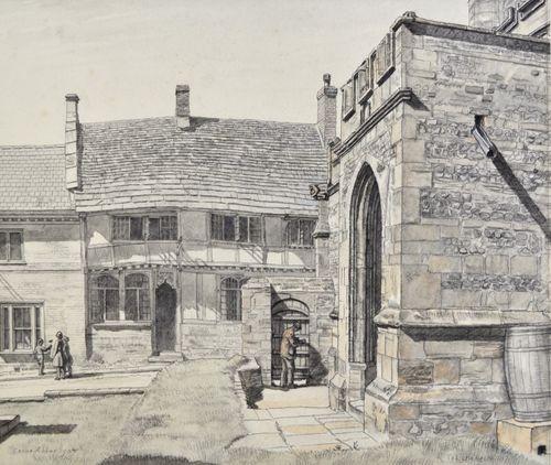 Randolph Schwabe - The Pitchmarket, Cerne Abbas - watercolour