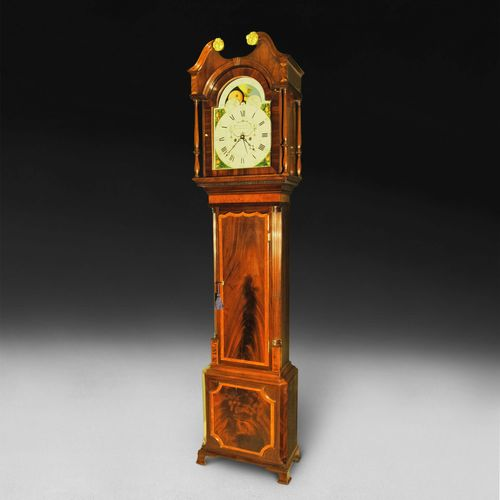 George III Period Mahogany and Inlaid Longcase Clock