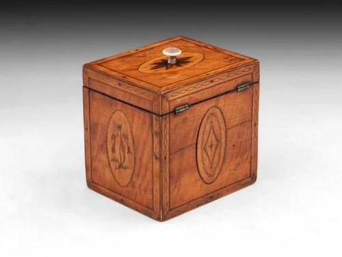 Antique Single Satinwood Tea Caddy