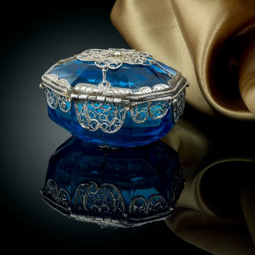 17th Century Northern European Blue Glass Box With Silver Mounts and Filigree Decoration