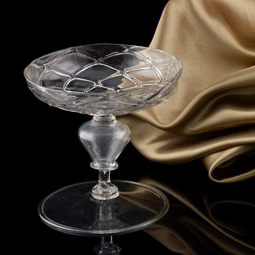 A Small Cristallo Glass Tazza; the Low Countries, first half of the 17th century.