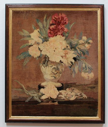Gobelins, Peonies in a Vase on a Pedestal, after Manet