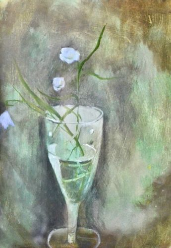 Tessa Newcomb - Flowers in a Glass - oil on board