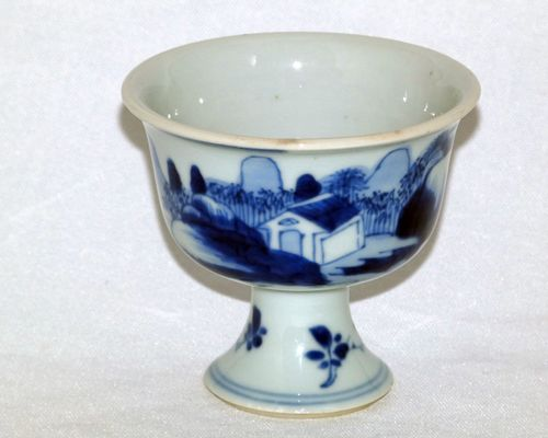 Chinese Blue and White 17th Century Small Stem Cup