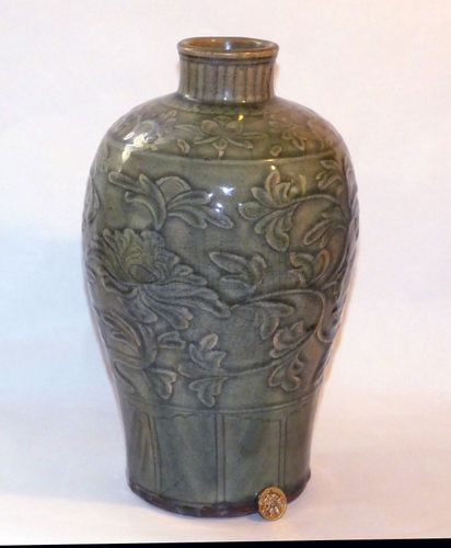 Ming carved Celadon Meiping vase