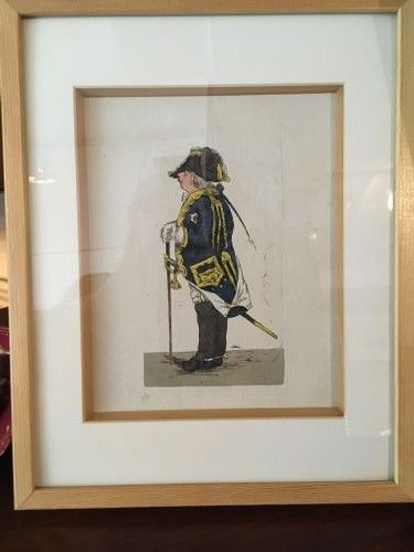 Hand coloured engraving of a Military Man