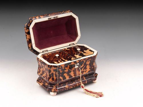 Antique Tortoiseshell Tea Caddy