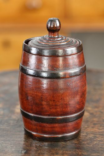 19th Century Treen Barrel Lidded Pot