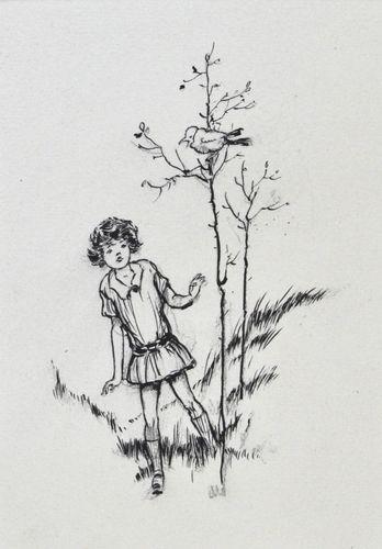 Frank Watkins - The Songbird - pen and ink