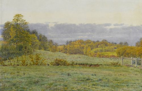 George Price Boyce, RWS - A Little Wooded Valley in Surrey - watercolour