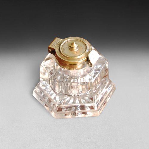 19th Century Large Hexagonal Glass Inkwell