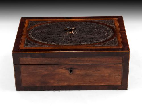 Antique Satinwood Paper Scroll Sewing Box