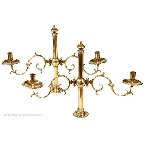 Pair of Fixed Brass Candelabra by Tonks of Birmingham