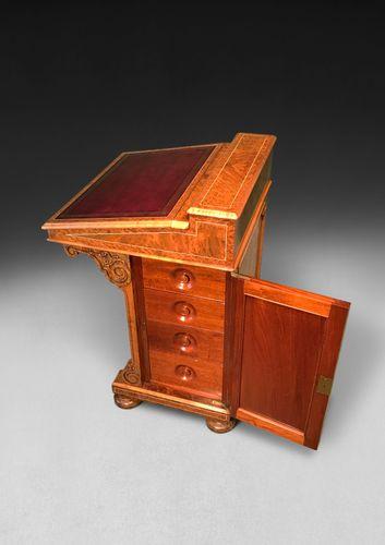 Mid 19th. Century Inlaid Amboyna Davenport by J & T Scott of Edinburgh