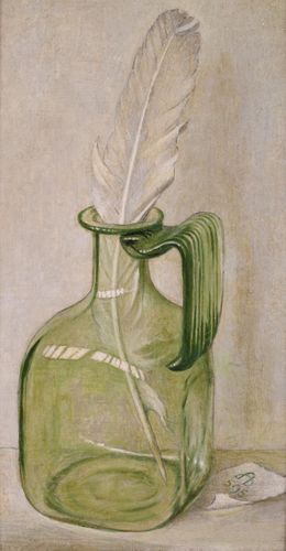 Maxwell Armfield - Bottle and Feather - Tempera on board