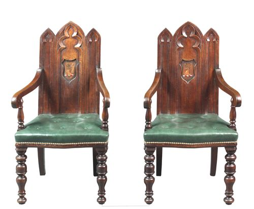 Pair of Gothic Oak Hall Chairs with Arms