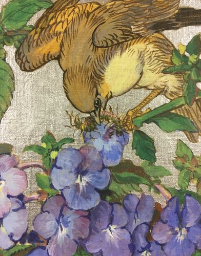 Kay Nixon - Bird and Blossom - Oil & Silver paint