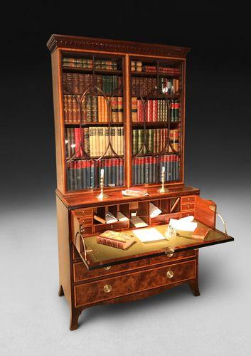 George III Period Inlaid Mahogany Library Secretaire Bookcase