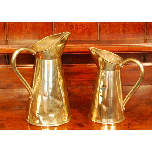 Pair of Victorian Brass Jugs or Ewers.