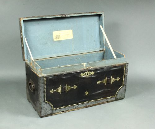 Antique pair of leather trunks
