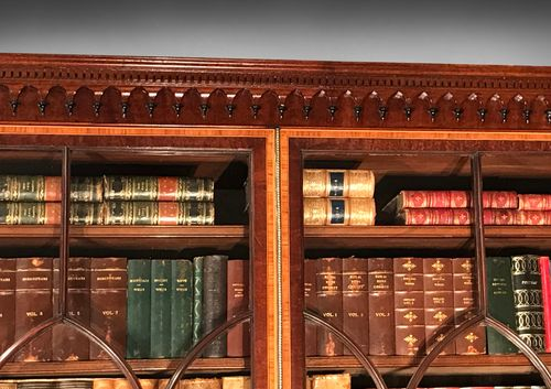 George III Period Inlaid Mahogany Library Secretaire Bookcase