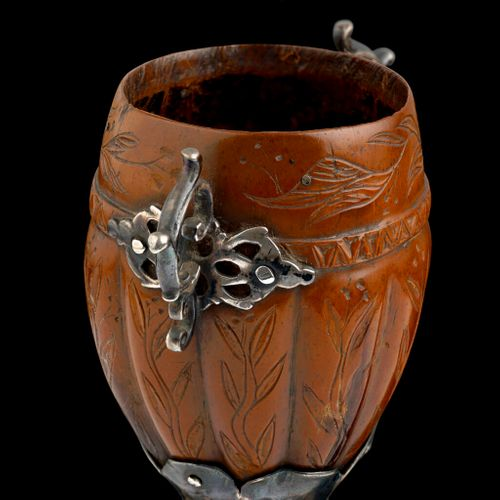 A Spanish Colonial silver mounted Cocquilla nut goblet engraved with flowering tendrils