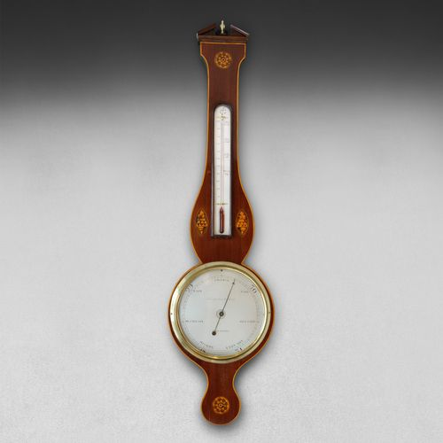 George III Mahogany & Inlaid Wheel Barometer