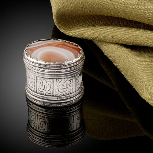 A rare Charles I silver box with an agate set lid c.1640