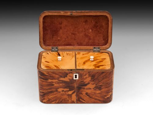 Antique Blonde Tortoiseshell Tea Caddy