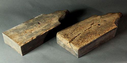 Pair of carved oak fox corbels