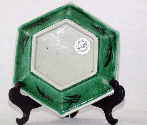 kangxi Biscuit Porcelain Famille verte Shaped Dish