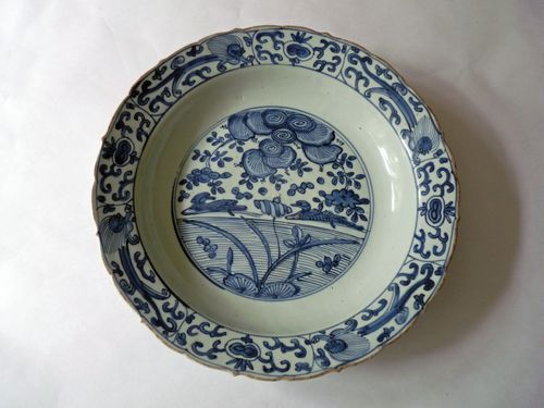 Ming - Wanli - Blue and White Porcelain Charger