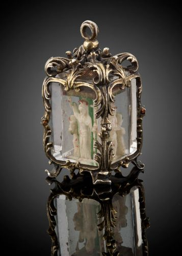 A silver gilt and rock crystal Reliquary Pendant Spanish c.1680