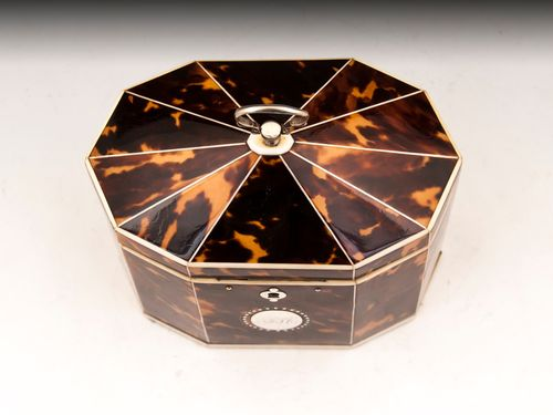 Antique Tortoiseshell Tent Top Tea Caddy