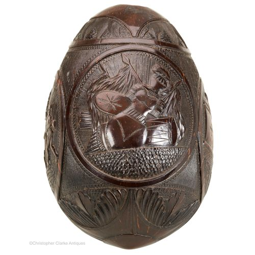 Coconut Carved Bugbear Flask