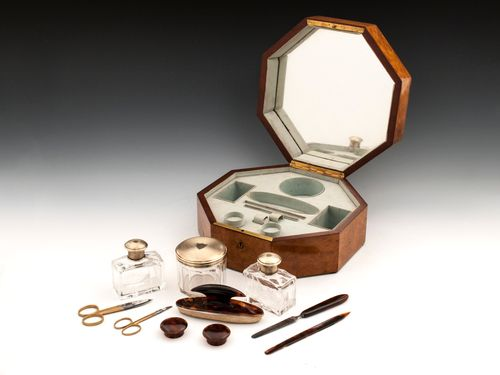 Art Deco Amboyna Silver Vanity Box
