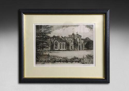 Early 20th century black and white etching, CB Prescott – Hampton Court, Herefordshire