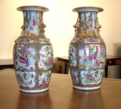 Pair of Canton vases as table lamps
