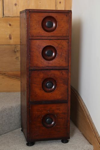 Antique Mahogany Apothecary Bank of Drawers