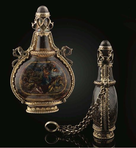 A Rock Crystal Flask with Silver Gilt Mounts and Chain; 16th century, Italian