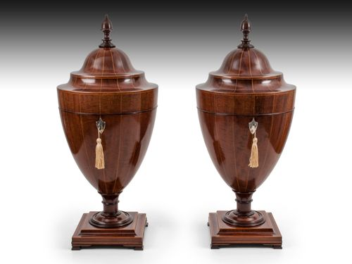 Pair of Antique Mahogany Cutlery Urns