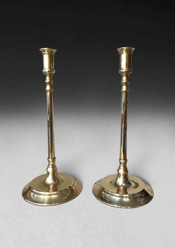 Pair of Early 19th Century Tall Brass Candlesticks