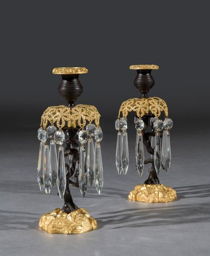Pair of Early 19th Century William IV Period Gilt Brass Candlestick Lustres