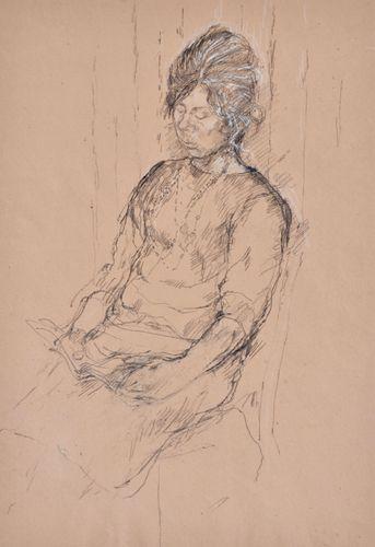 Carolyn Sergeant - Girl Reading - drawing