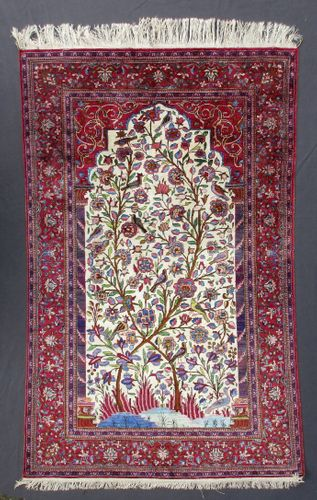 Antique Persian Silk Kashan with a Tree of Life Design
