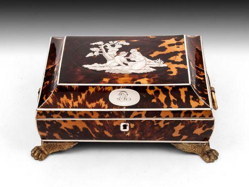 Regency Tortoiseshell & Silver Sewing Box