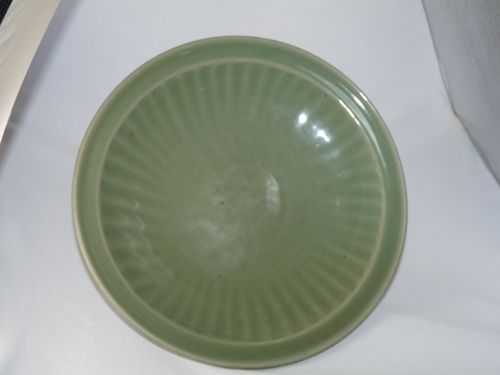 Yuan / Ming Longquan Celadon Deep Moulded and Carved Saucer Plate